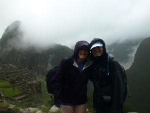 Me and one of my besties making the best of the rain at Machu Picchu