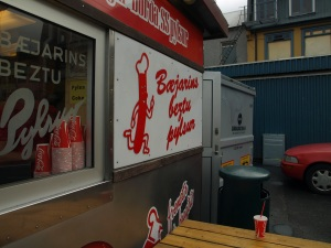 Baejarins hot dog cart in Reykjavik. Home of the sheep & lamb hot dog.