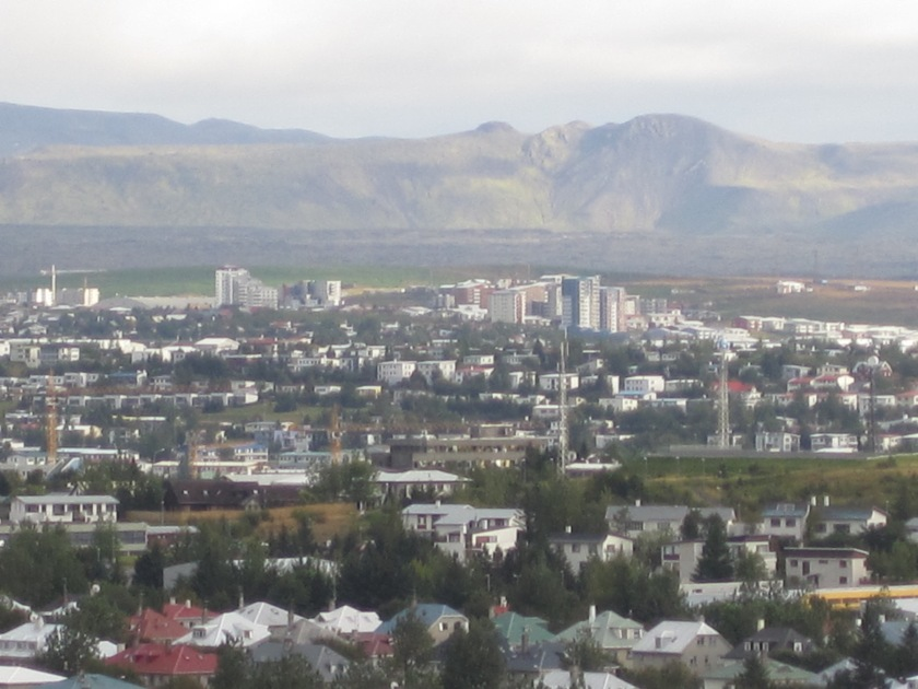 View of Reykjavik from the top of Hallgrimskirkja cathedral.