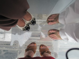 This is me (and two co-workers) 1,353 over Chicago. We like this photo because the shoes represent our personalities.