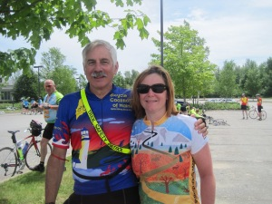 Me and Dad at the Trek Across Maine staging area, two miles before the finish line.