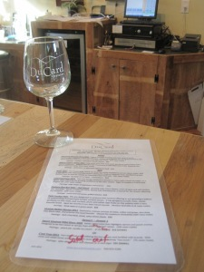 The tasting menu at DuCard Vineyards was extensive (and quite good)!