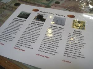 A snapshot of the tasting menu at Desert Rose Vineyards.