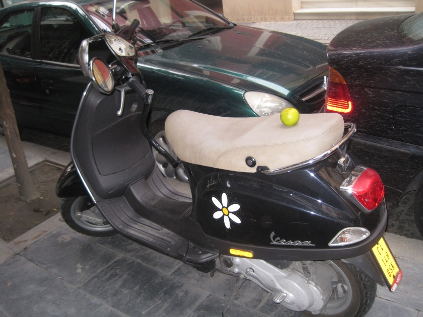Apple on a Vespa. Photo taken in Seville, Spain circa 2013