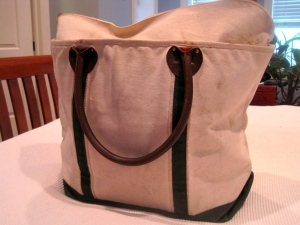 "The trusty L.L.Bean ""carry on"" tote. Never leave home without mine!"