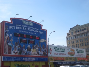 Nathan's hot dog eating contest Wall of Fame. Odd they don't include the time it took winners to down all those hot dogs.