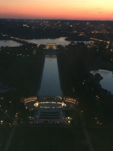 A view of the National Mall from the top of the Washington Monument