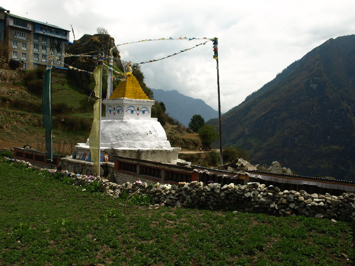 A stupa at Namche Bazaar in the Everest Region of Nepal.