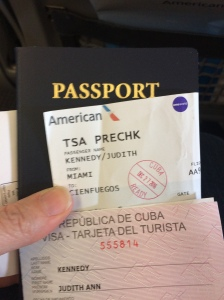 Passport: Check, Ticket: Check, Tourist Card: Check.